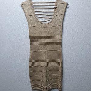 WOW Couture Gold Metallic Sleeveles Bandage Dress
